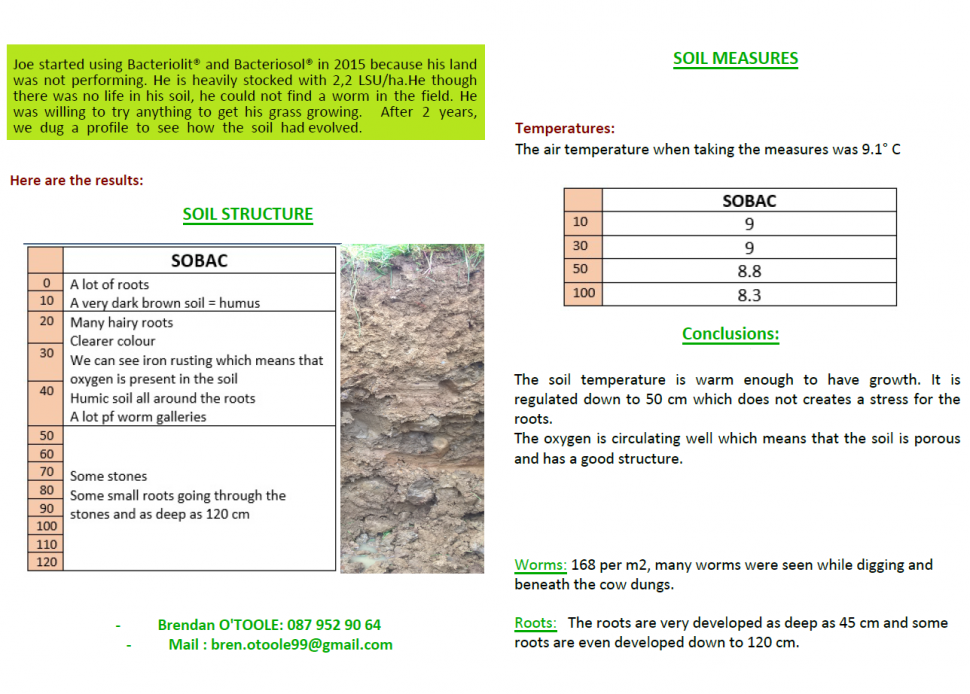 Soil profile 6th april 2017 at Mr Murray's farm in county roscommon, Ireland 2